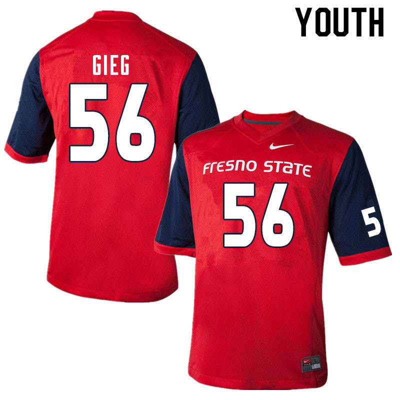 Youth #56 Zack Gieg Fresno State Bulldogs College Football Jerseys Sale-Red
