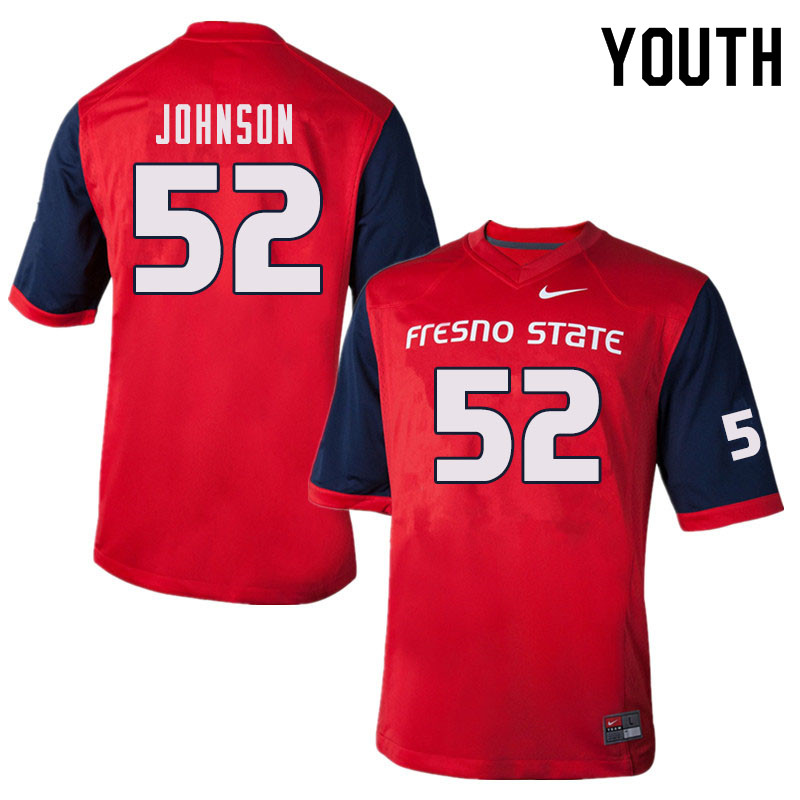 Youth #52 Da'Marcus Johnson Fresno State Bulldogs College Football Jerseys Sale-Red
