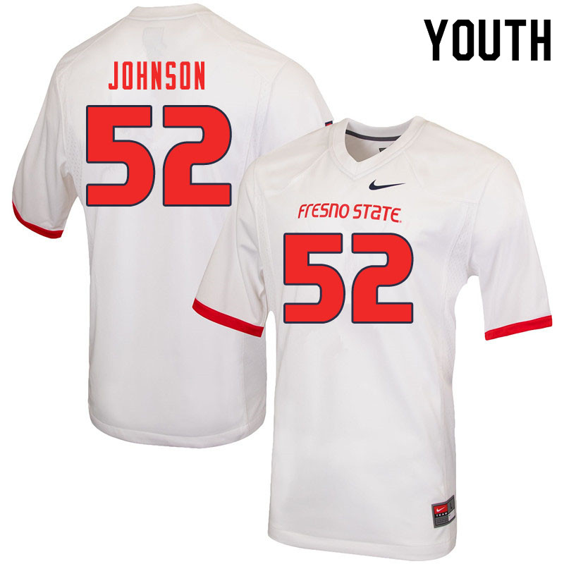 Youth #52 Da'Marcus Johnson Fresno State Bulldogs College Football Jerseys Sale-White