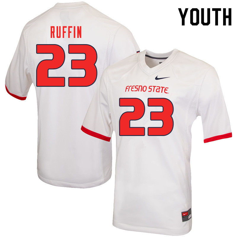Youth #23 Deshawn Ruffin Fresno State Bulldogs College Football Jerseys Sale-White