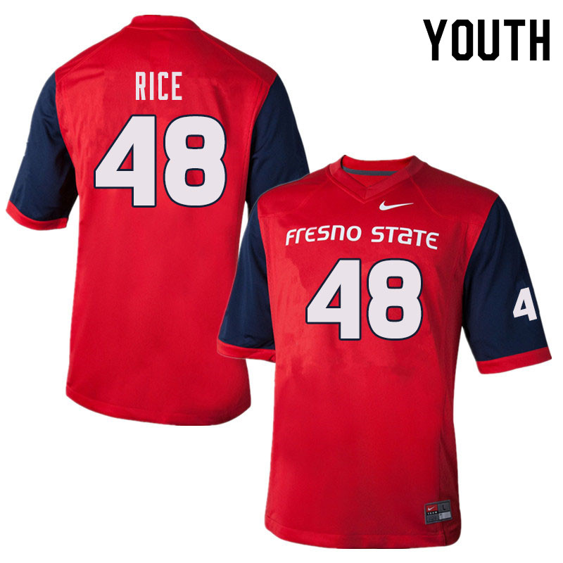 Youth #48 Jack Rice Fresno State Bulldogs College Football Jerseys Sale-Red