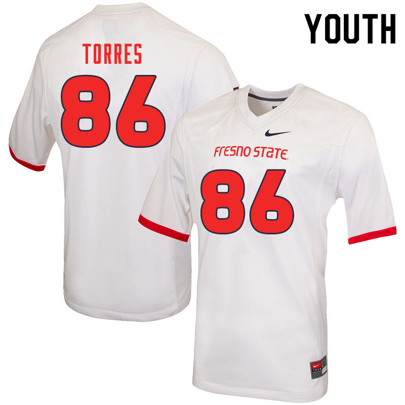 Youth #86 Jared Torres Fresno State Bulldogs College Football Jerseys Sale-White