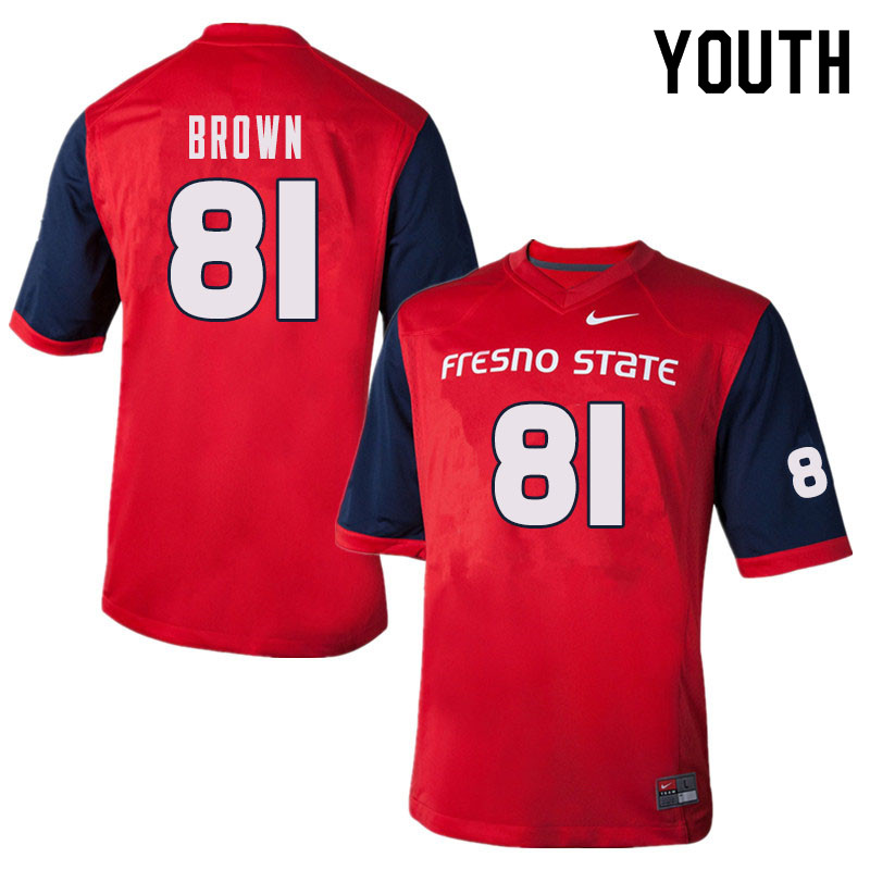 Youth #81 Jordan Brown Fresno State Bulldogs College Football Jerseys Sale-Red