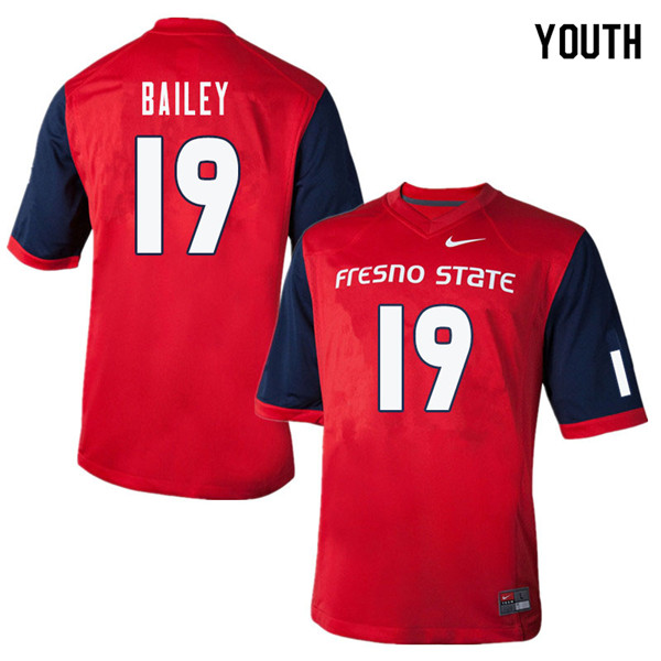 Youth #19 Brent Bailey Fresno State Bulldogs College Football Jerseys Sale-Red