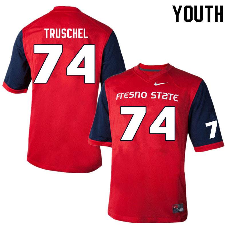 Youth #74 Clive Truschel Fresno State Bulldogs College Football Jerseys Sale-Red