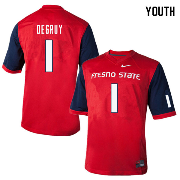 Youth #1 Damien DeGruy Fresno State Bulldogs College Football Jerseys Sale-Red