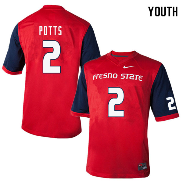 Youth #2 DeShawn Potts Fresno State Bulldogs College Football Jerseys Sale-Red