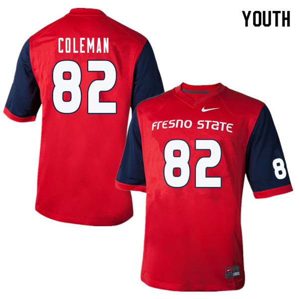 Youth #82 Donte Coleman Fresno State Bulldogs College Football Jerseys Sale-Red