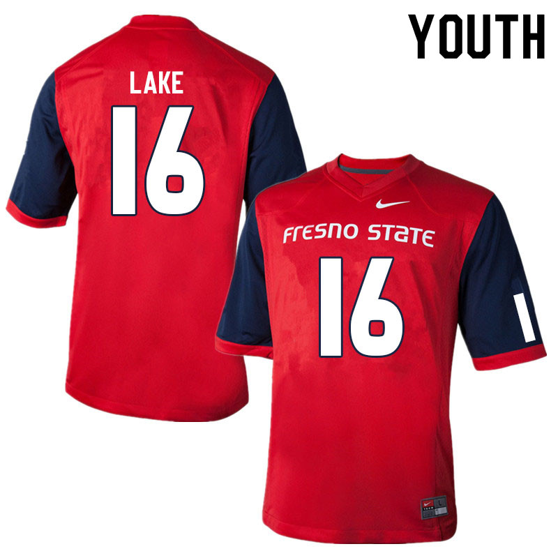 Youth #16 Grant Lake Fresno State Bulldogs College Football Jerseys Sale-Red