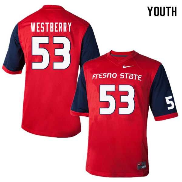 Youth #53 Jacob Westberry Fresno State Bulldogs College Football Jerseys Sale-Red