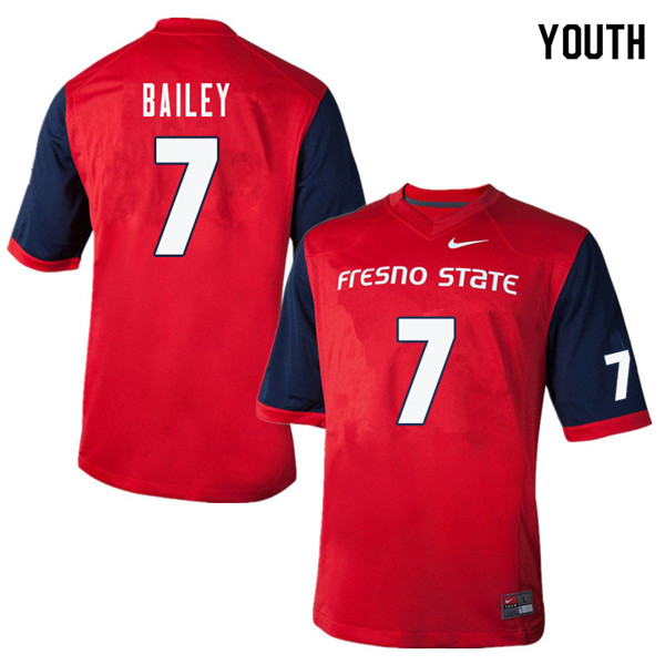Youth #7 James Bailey Fresno State Bulldogs College Football Jerseys Sale-Red