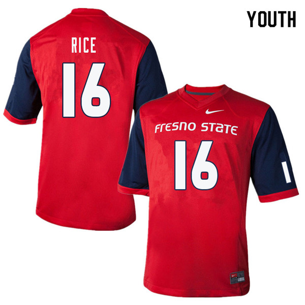 Youth #16 Jared Rice Fresno State Bulldogs College Football Jerseys Sale-Red