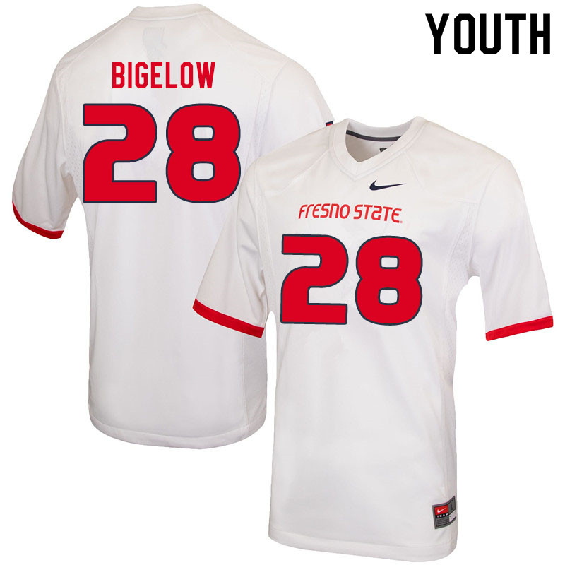Youth #28 Jevon Bigelow Fresno State Bulldogs College Football Jerseys Sale-White