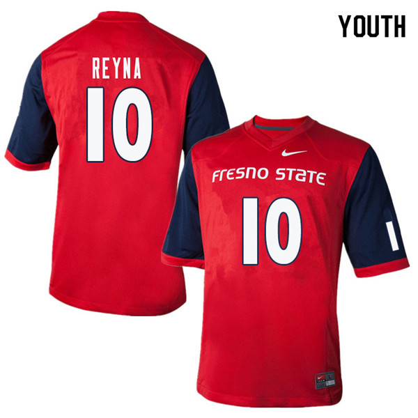 Youth #10 Jorge Reyna Fresno State Bulldogs College Football Jerseys Sale-Red