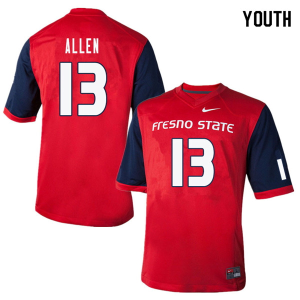 Youth #13 Justin Allen Fresno State Bulldogs College Football Jerseys Sale-Red
