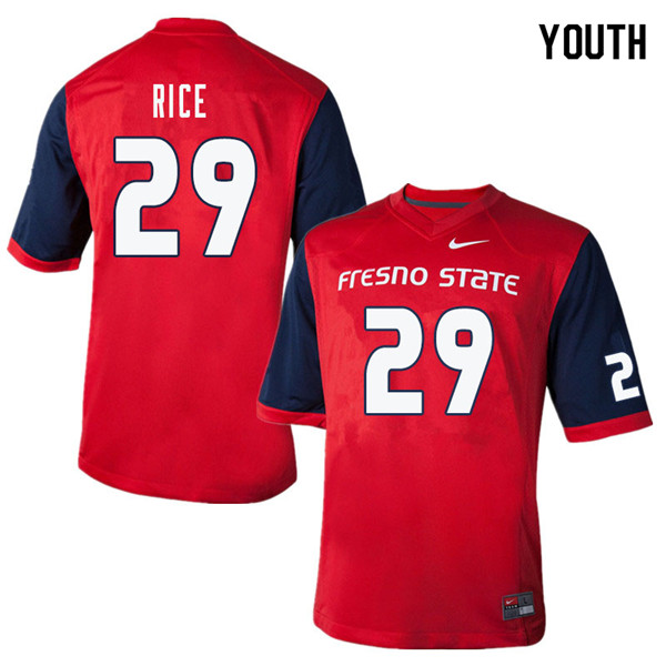Youth #29 Justin Rice Fresno State Bulldogs College Football Jerseys Sale-Red
