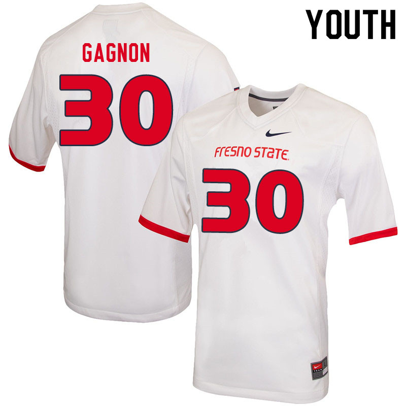 Youth #30 Kenny Gagnon Fresno State Bulldogs College Football Jerseys Sale-White