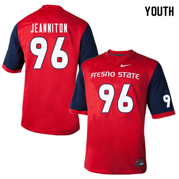 Youth #96 Kevin Jeanniton Fresno State Bulldogs College Football Jerseys Sale-Red