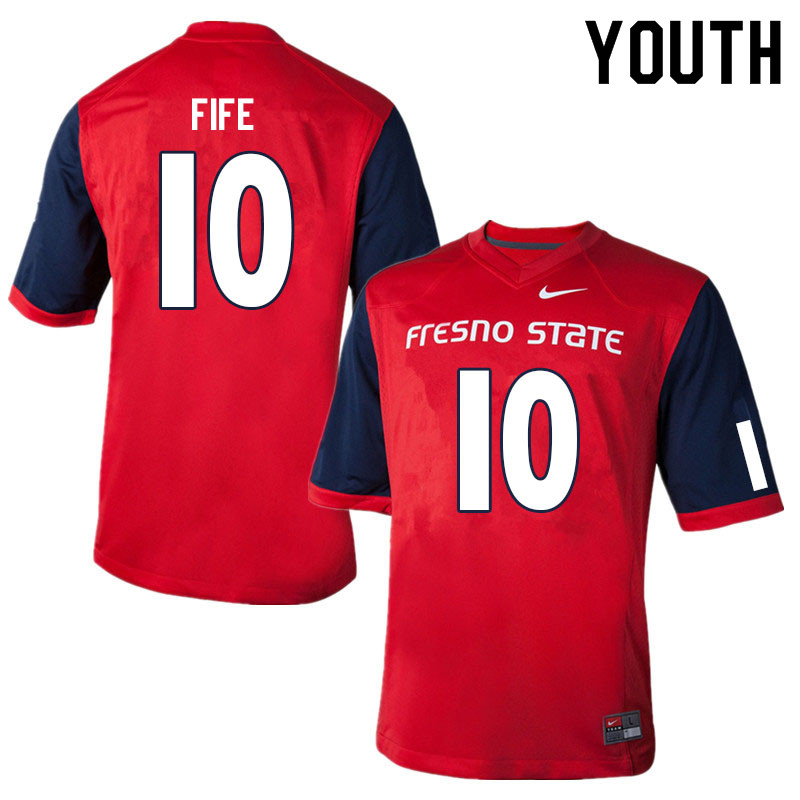 Youth #10 Logan Fife Fresno State Bulldogs College Football Jerseys Sale-Red