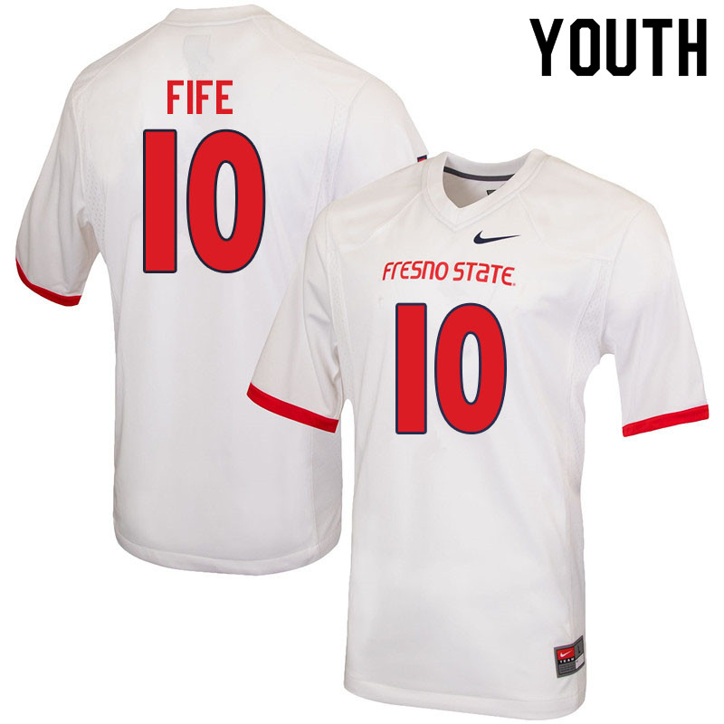 Youth #10 Logan Fife Fresno State Bulldogs College Football Jerseys Sale-White