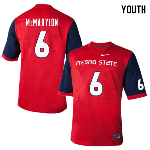 Youth #6 Marcus McMaryion Fresno State Bulldogs College Football Jerseys Sale-Red