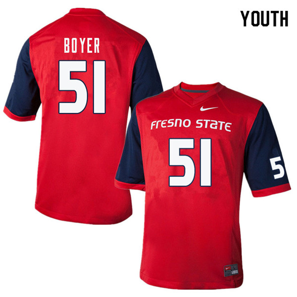 Youth #51 Markus Boyer Fresno State Bulldogs College Football Jerseys Sale-Red