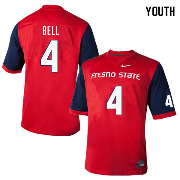 Youth #4 Mike Bell Fresno State Bulldogs College Football Jerseys Sale-Red