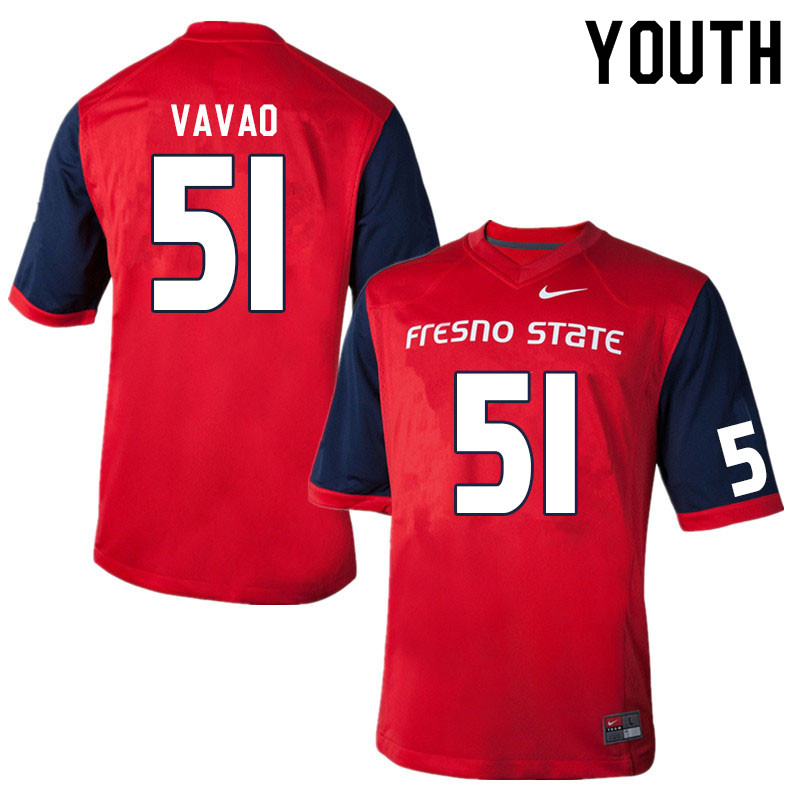 Youth #51 Mose Vavao Fresno State Bulldogs College Football Jerseys Sale-Red