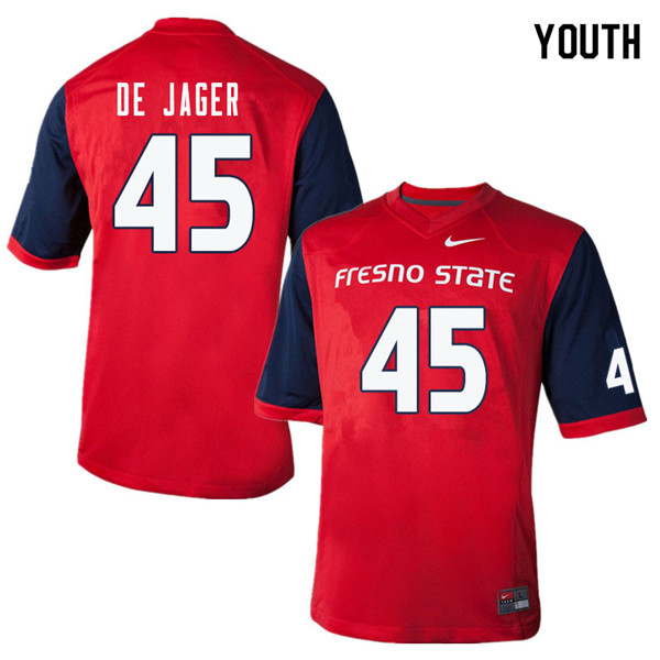 Youth #45 Nathan De Jager Fresno State Bulldogs College Football Jerseys Sale-Red