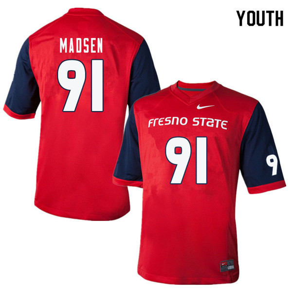 Youth #91 Nathan Madsen Fresno State Bulldogs College Football Jerseys Sale-Red