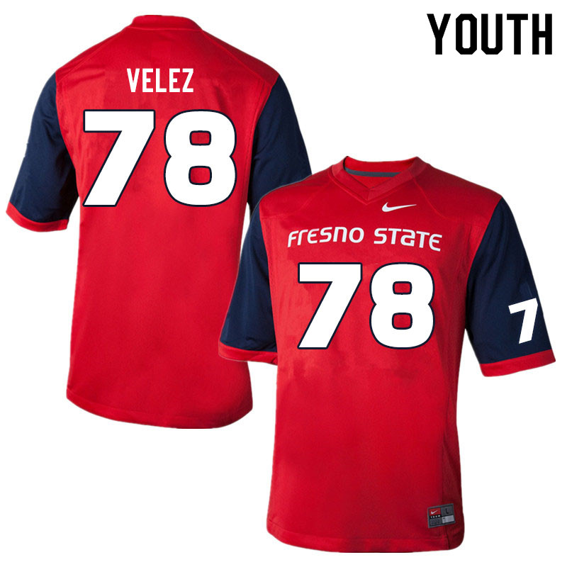 Youth #78 Osmar Velez Fresno State Bulldogs College Football Jerseys Sale-Red