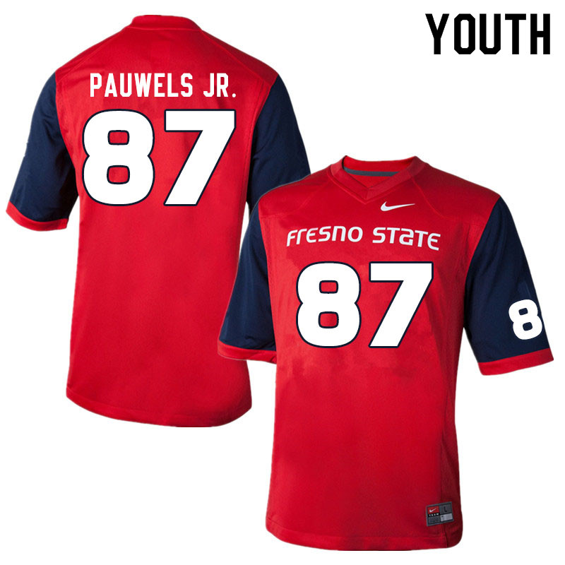 Youth #87 Raymond Pauwels Jr. Fresno State Bulldogs College Football Jerseys Sale-Red