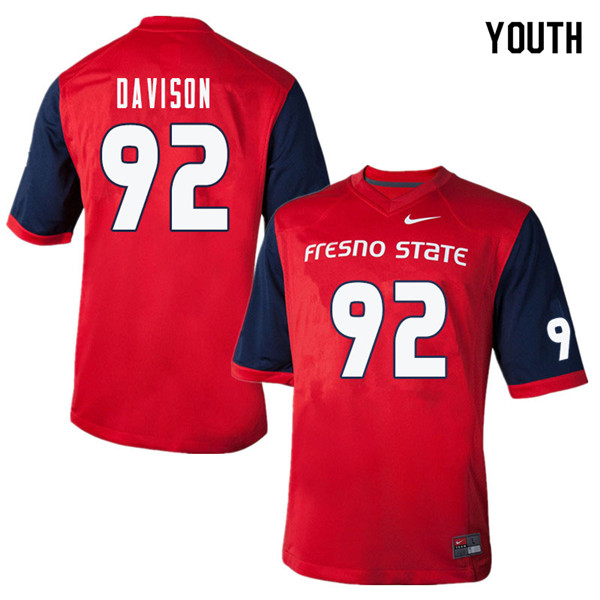 Youth #92 Tyeler Davison Fresno State Bulldogs College Football Jerseys Sale-Red