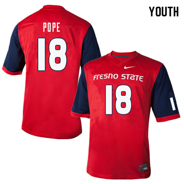 Youth #18 Zane Pope Fresno State Bulldogs College Football Jerseys Sale-Red